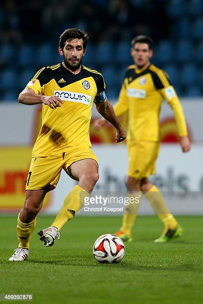Leandro Grech of Aalen runs with the ball during the Second Bundesliga match between VfL Bochum and VfR Aalen at Rewirpower Stadium on November 21...