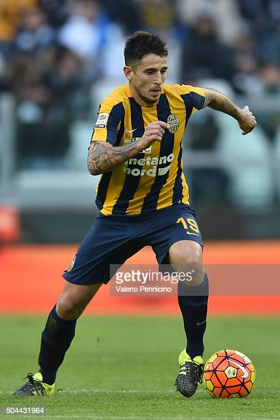 Leandro Greco of Hellas Verona FC in action during the Serie A match between Juventus FC and Hellas Verona FC at Juventus Arena on January 6 2016 in...