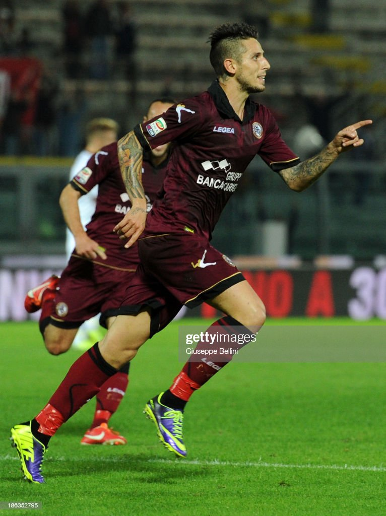 Leandro Greco of Livorno celebrates after scoring their second goal during the Serie A match between AS Livorno Calcio v Torino FC at Stadio Armando Picchi on October 30, 2013 in Livorno, Italy.