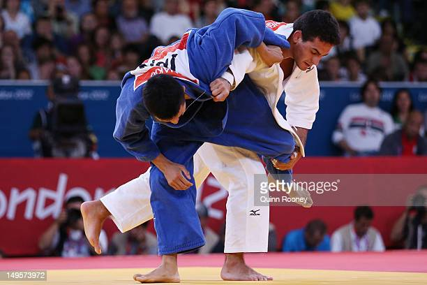 Leandro Guilheiro of Brazil competes with Takahiro Nakai of Japan in the Men's 81 kg Judo on Day 4 of the London 2012 Olympic Games at ExCeL on July...