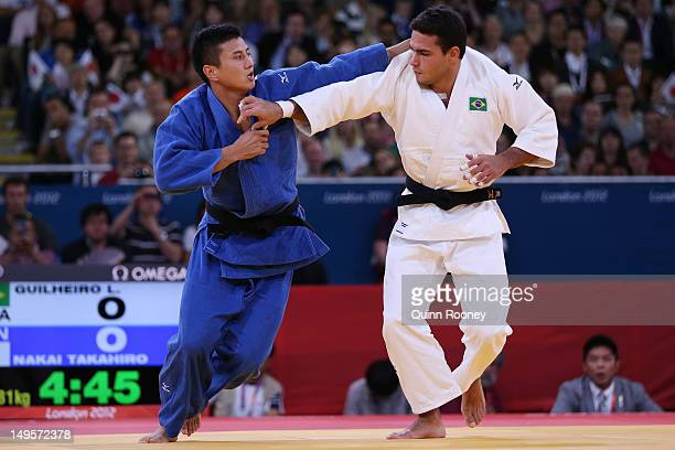 Leandro Guilheiro of Brazil competes with Takahiro Nakai of Japan on Day 4 of the London 2012 Olympic Games at ExCeL on July 31 2012 in London England