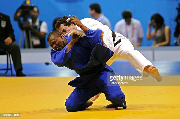 Leandro Gulheiro of Brazil during the Judo men's 81kg of the 2011 XVI Pan American Games at the Gym Code II on October 27, 2011 in Guadalajara,...