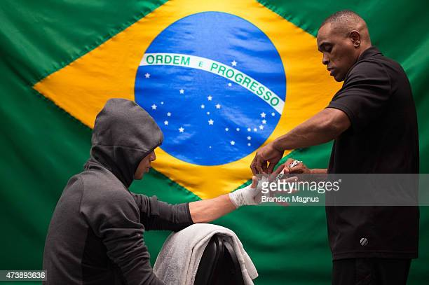 Leandro Higo gets his hands wrapped before facing Bruno Korea during the filming of The Ultimate Fighter Brazil: Team Nogueira vs Team Rua on...