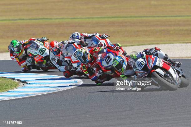 Leandro Mercado of Argentina and Orelac Racing VerdNatura leads the field during Superbike race 2 during the 2019 World Superbikes at Phillip Island...