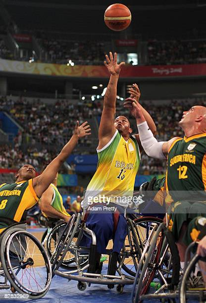 Leandro Mirando of Brazil in action during the Wheelchair Basketball match between Brazil and South Africa at the National Indoor Stadium during day...