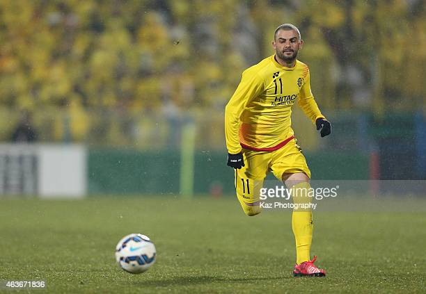 Leandro Montera Da Silva of Kashiwa Reysol in action during the AFC Champions League playoff match between Kashiwa Reysol and Chonburi FC at Hitachi...