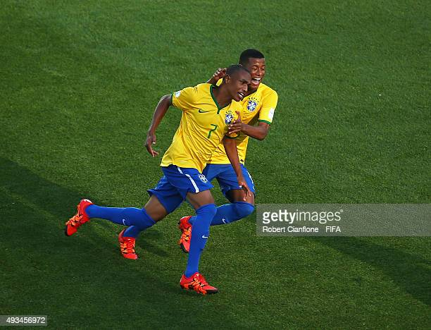 Leandro of Brazil celebrates after scoring a goal during the FIFA U17 World Cup Group B match between England and Brazil at Estadio La Portada on...