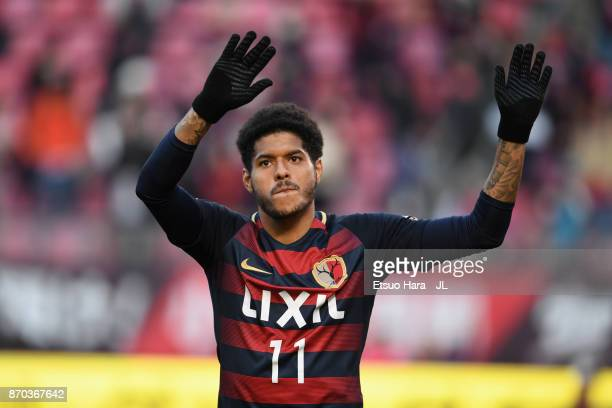 Leandro of Kashima Antlers applauds supporters after his side's 10 victory in the JLeague J1 match between Kashima Antlers and Urawa Red Diamonds at...