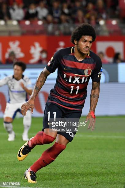 Leandro of Kashima Antlers celebrates scoring his side's first goal during the JLeague J1 match between Kashima Antlers and Gamba Osaka at Kashima...