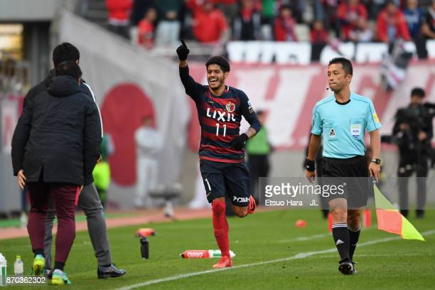 Leandro of Kashima Antlers celebrates scoring the opening goal during the JLeague J1 match between Kashima Antlers and Urawa Red Diamonds at Kashima...