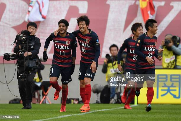 Leandro of Kashima Antlers celebrates scoring the opening goal with his team mates during the JLeague J1 match between Kashima Antlers and Urawa Red...
