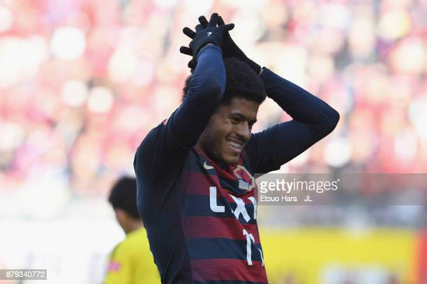 Leandro of Kashima Antlers reacts after missing a chance during the JLeague J1 match between Kashima Antlers and Kashiwa Reysol at Kashima Soccer...