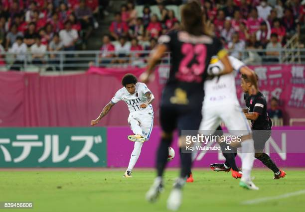 Leandro of Kashima Antlers scores the opening goal during the J.League J1 match between Cerezo Osaka and Kashima Antlers at Yanmar Stadium Nagai on...