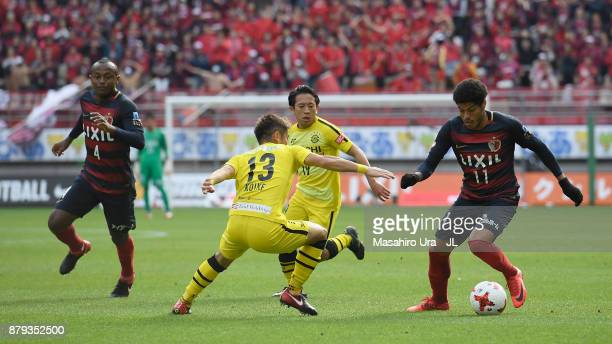 Leandro of Kashima Antlers takes on Ryuta Koike of Kashiwa Reysol during the JLeague J1 match between Kashima Antlers and Kashiwa Reysol at Kashima...