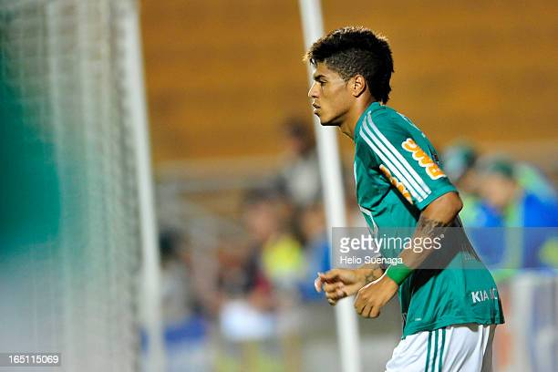 Leandro of Palmeiras celebrates a goal during the match between Palmeiras and Linense as part of Paulista Championship 2013 at Pacaembu Stadium on...
