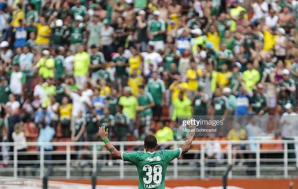 Leandro of Palmeiras celebrates a goal during the match between Palmeiras and Boa Esporte for the Brazilian Championship Series B 2013 at Pacaembu Stadium on November 16, 2013 in Sao Paulo, Brazil.