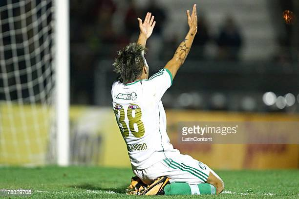 Leandro of Palmeiras celebrates a scored goal against Atletico Paranaense during a match between Atlético Paranaense and Palmeiras as part of the...