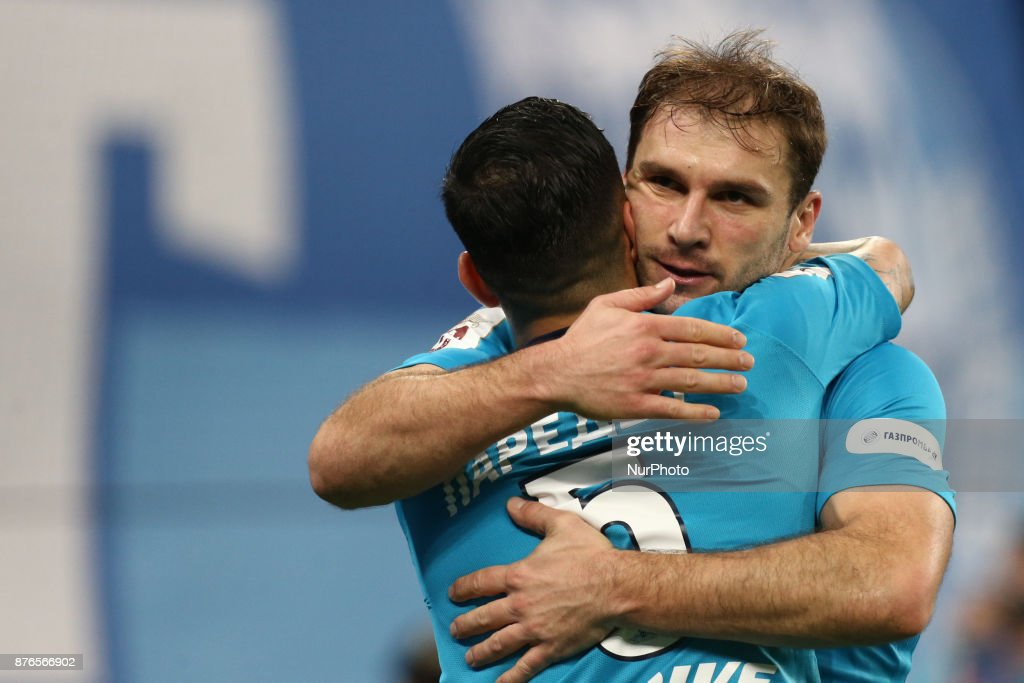 Leandro Paredes and Branislav Ivanovi of FC Zenit Saint Petersburg celebrates after scoring a goal during the Russian Football League match between FC Zenit Saint Petersburg and FC Tosno at Saint Petersburg Stadium on November 19, 2017 in St. Petersburg, Russia.
