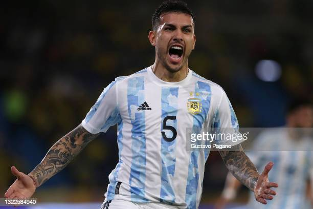 Leandro Paredes of Argentina celebrates after scoring the second goal of his team during a match between Colombia and Argentina as part of South...