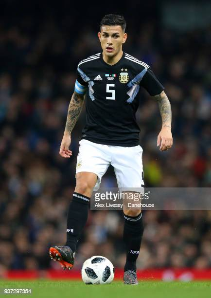 Leandro Paredes of Argentina controls the ball during the International friendly match between Argentina and Italy at Etihad Stadium on March 23 2018...