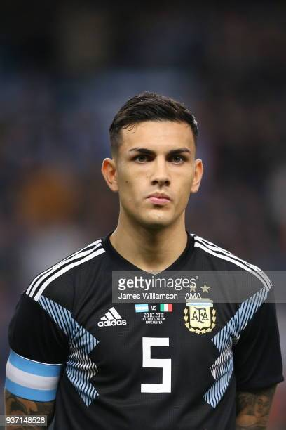Leandro Paredes of Argentina during an International Friendly fixture between Italy and Argentina at Etihad Stadium on March 23 2018 in Manchester...