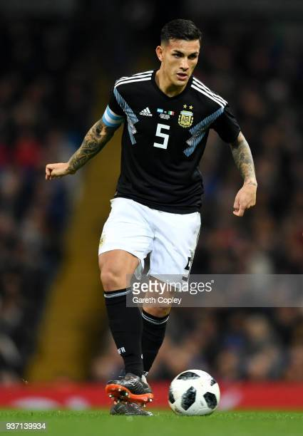 Leandro Paredes of Argentina during the International Friendly between Argentina and Italy at Etihad Stadium on March 23 2018 in Manchester England
