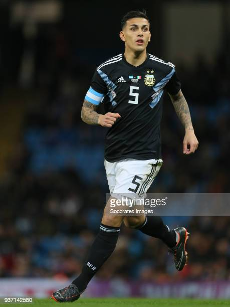 Leandro Paredes of Argentina during the International Friendly match between Italy v Argentina at the Etihad Stadium on March 23 2018 in Manchester...
