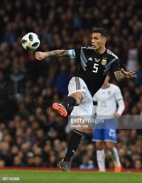 Leandro Paredes of Argentina in action during the International Friendly between Argentina and Italy at Etihad Stadium on March 23 2018 in Manchester...