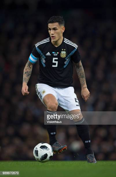 Leandro Paredes of Argentina in action during the International Friendly between Argentina and Italy at the Etihad Stadium on March 23 2018 in...