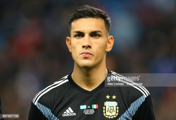 Leandro Paredes of Argentina looks on prior to during the International friendly match between Argentina and Italy at Etihad Stadium on March 23 2018...