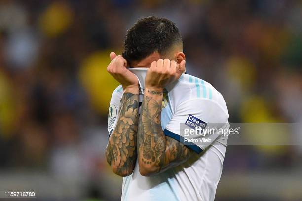 Leandro Paredes of Argentina reacts after losing the Copa America Brazil 2019 Semi Final match between Brazil and Argentina at Mineirao Stadium on...