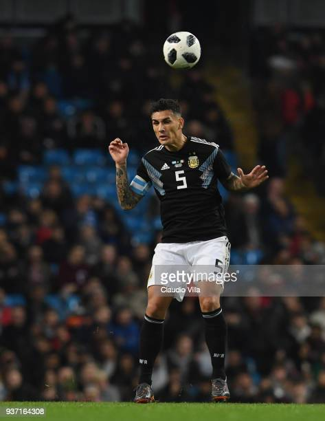 Leandro Paredes of Argentina reacts during the International Friendly between Argentina and Italy at Etihad Stadium on March 23 2018 in Manchester...