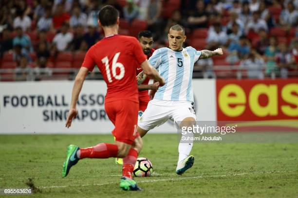 Leandro Paredes of Argentina shoots and scores during the International Test match between Argentina and Singapore at National Stadium on June 13...