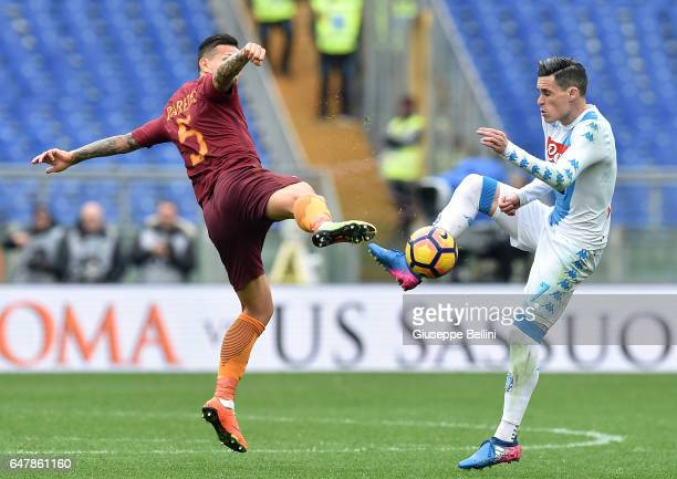 Leandro Paredes of AS Roma and Josè Maria Callejon of SSC Napoli in action during the Serie A match between AS Roma and SSC Napoli at Stadio Olimpico...
