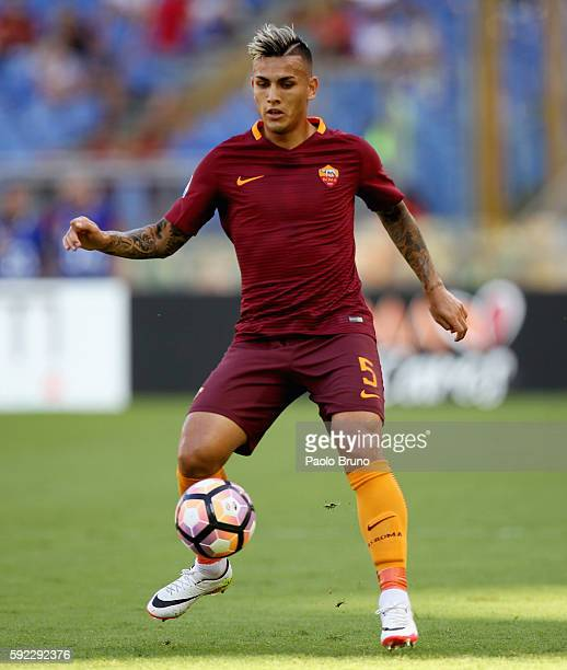 Leandro Paredes of AS Roma in action during the Serie A match between AS Roma and Udinese Calcio at Olimpico Stadium on August 20 2016 in Rome Italy