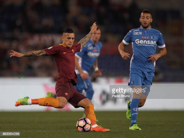Leandro Paredes of AS Roma kicks the ball during the Serie A match between AS Roma and Empoli FC at Stadio Olimpico on April 1 2017 in Rome Italy