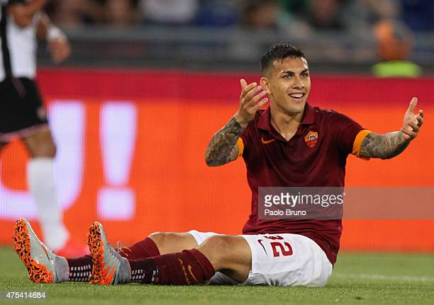 Leandro Paredes of AS Roma reacts during the Serie A match between AS Roma and US Citta di Palermo at Stadio Olimpico on May 31 2015 in Rome Italy