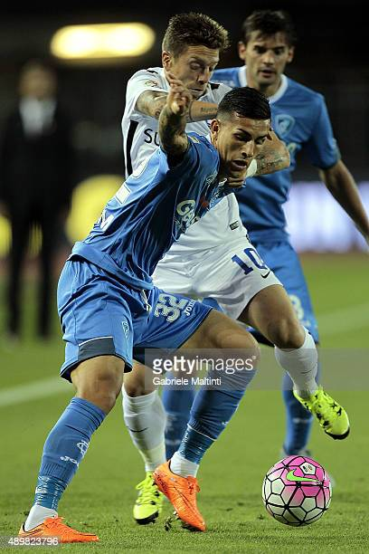 Leandro Paredes of Empoli FC battles for the ball with Alejandro Gomez of AC Atalanta BC during the Serie A match between Empoli FC and Atalanta BC...