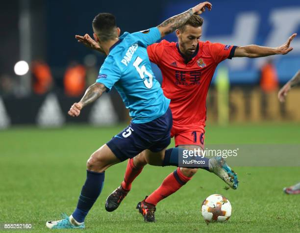 Leandro Paredes of FC Zenit Saint Petersburg and Sergio Canales of FC Real Sociedad vie for the ball during the UEFA Europa League Group L football...