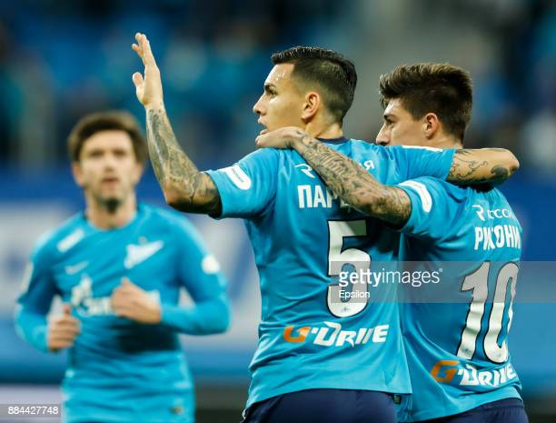 Leandro Paredes of FC Zenit Saint Petersburg celebrates his goal with Emiliano Rigoni during the Russian Football League match between FC Zenit St...