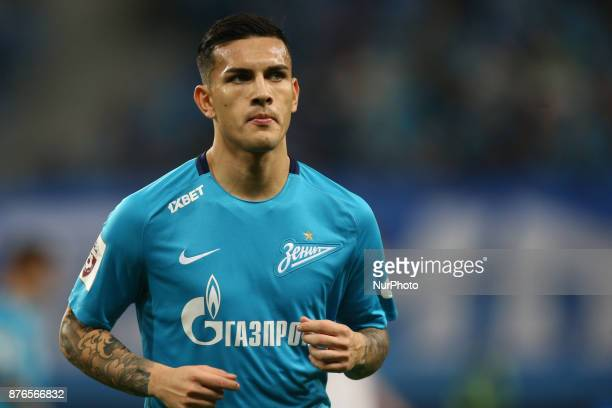 Leandro Paredes of FC Zenit Saint Petersburg looks on during the Russian Football League match between FC Zenit Saint Petersburg and FC Tosno at...