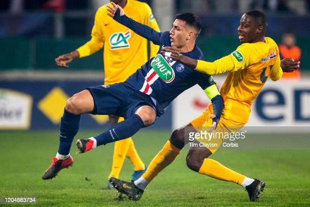 January 29: Leandro Paredes of Paris Saint-Germain challenged by Alassane Diaby of Pau during the Pau V Paris Saint-Germain, Coupe de France match at...