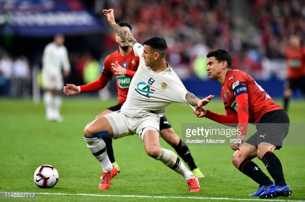 Leandro Paredes of Paris Saint-Germain fights for the ball during the French Cup Final match between Paris Saint-Germain and Stade Rennais at Stade...