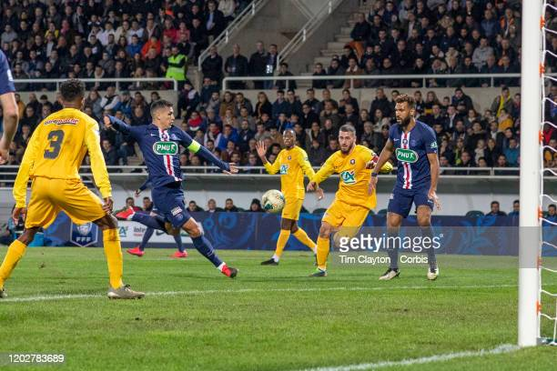 January 29: Leandro Paredes of Paris Saint-Germain scores the opening goal of the match during the Pau V Paris Saint-Germain, Coupe de France match...