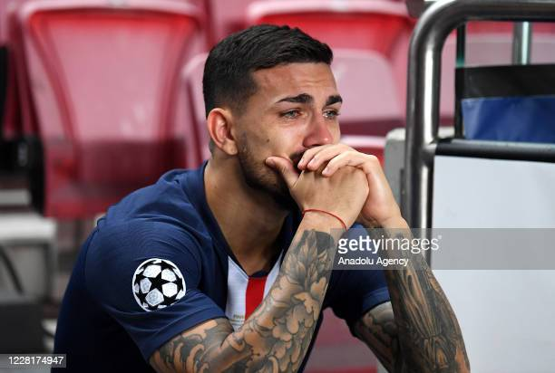 Leandro Paredes of PSG gets upset at the end of the UEFA Champions League final football match between Paris Saint-Germain and Bayern Munich at the...