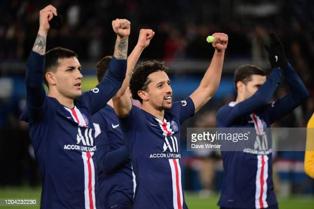 Leandro PAREDES of PSG, MARQUINHOS of PSG and Mauro ICARDI of PSG celebrate winning the Ligue 1 match between Paris Saint-Germain and Dijon FCO at...
