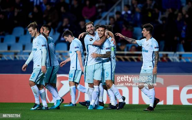 Leandro Paredes of Zenit St Petersburg celebrates after scoring his team's third goal during the UEFA Europa League group L football match between...