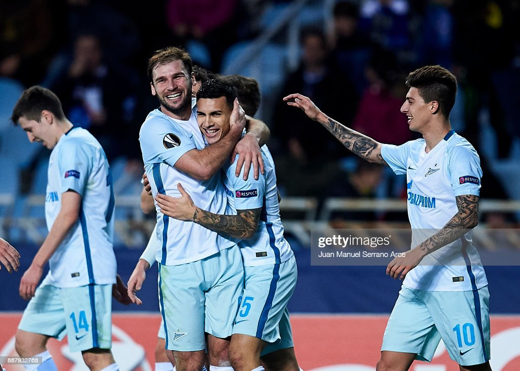 Leandro Paredes of Zenit St. Petersburg celebrates after scoring his team's third goal during the UEFA Europa League group L football match between Real Sociedad de Futbol and FC Zenit Saint Petersburg at Estadio Anoeta on December 7, 2017 in San Sebastian, Spain.