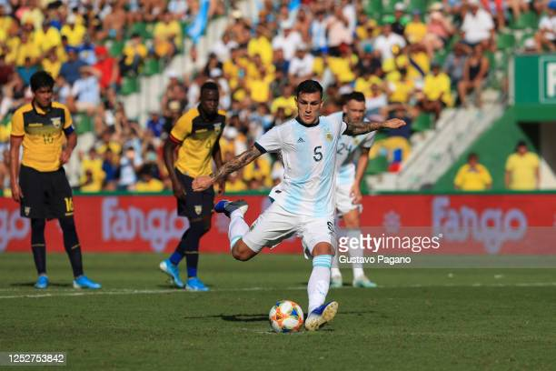 Leandro Paredes shoots the penalty kick during the international friendly match between Ecuador and Argentina at Estadio Manuel Martinez Valero on...