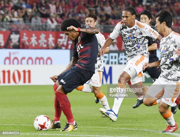 Leandro scores in the first half in Kashima Antlers' 20 win at home against Shimizu SPulse in the JLeague first division on Aug 19 2017 ==Kyodo
